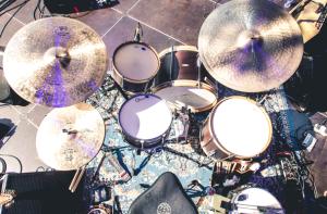 C&C LPL drums, Zildjian Constantinople cymbals, Vic Firth sticks, Aquarian Drum Heads, DW hardware