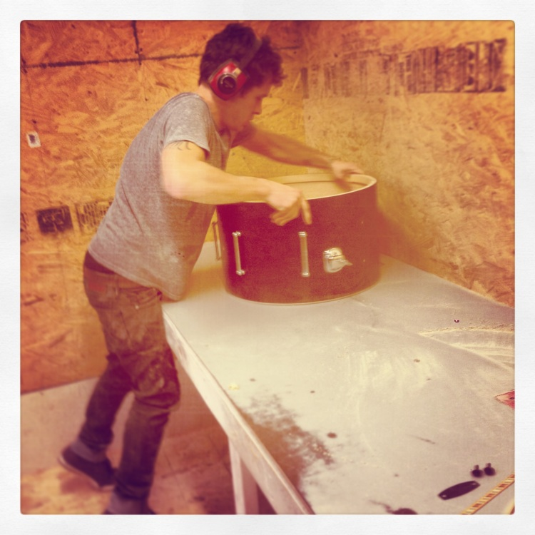 Jacob Cardwell forming the bearing edges on a new Sigur Ros drum